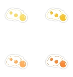 Set of paper stickers on white background fried vector