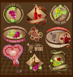 Set of retro labels for wine vector image
