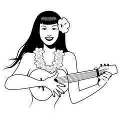 sexy pinup girl playing ukelele cartoon retro vector image