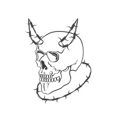 Skull with barbed wire modern vector