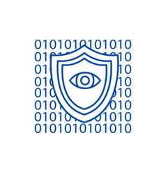 Software securityanti virus line icon concept vector
