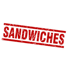 Square grunge red sandwiches stamp vector
