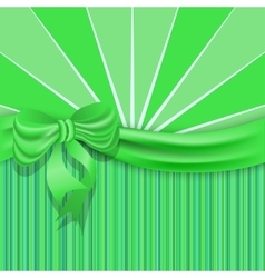 StPatricks background with a green satin ribbon vector image