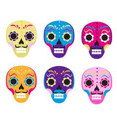 sugar skull set icon flat cartoon style cute dead vector image