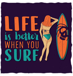 Surfing label design vector
