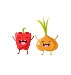 Sweet pepper and onion cartoon friends vector