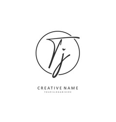 Tj initial letter handwriting and signature logo vector