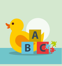 Toys rubber duck puzzle and blocks alphabet vector
