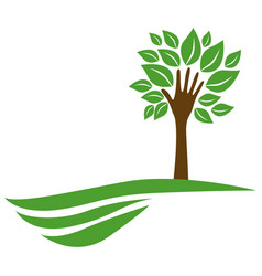 Tree with leaves and stem in form hand in the vector