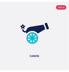 Two color canon icon from army concept isolated vector