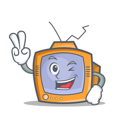 two finger tv character cartoon object vector image
