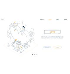 valentines day - line design style isometric web vector image