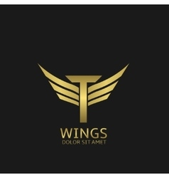 Wings T letter logo vector