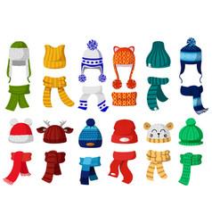 Winter hats kids knitting autumn headwear hats vector
