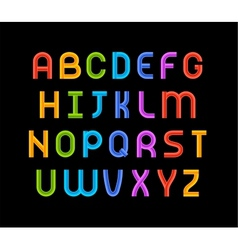 Wired wavy cable colorful contour alphabet vector