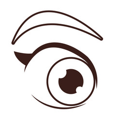 women eye cartoon in black and white vector image