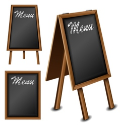 Wood blackboard set for menu vector