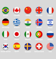 World flags round icons set vector