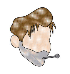 Young man with a thermometer in his mouth wrapped vector