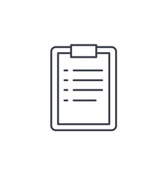 clipboard to-do list plan thin line icon linear vector image vector image
