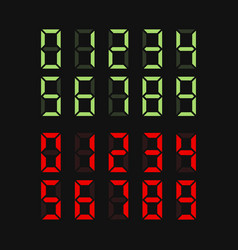 green and red digital numbers set vector image