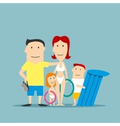 Happy family in swimwear on summer vacation vector image vector image
