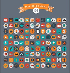Huge modern collection of flat icons vector image vector image