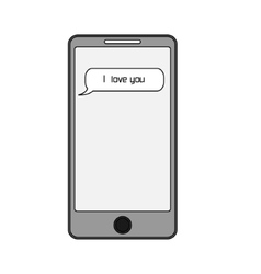 Isolated smart phone with text message i love you vector image vector image