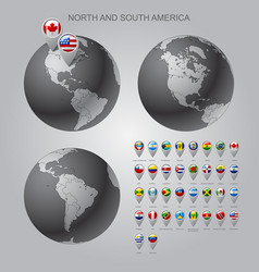 map marker with flags north and south america vector image vector image