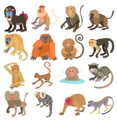 monkeys types icons set cartoon style vector image vector image