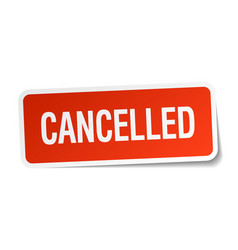 Cancelled red square sticker isolated on white vector