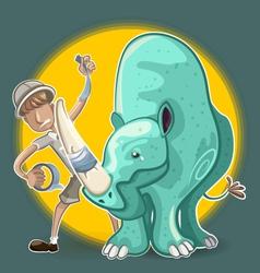 Eco Warrior Man Plasters Rhinoceros Horn vector image vector image