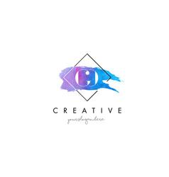 Go artistic watercolor letter brush logo vector