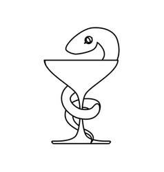 Isolated caduceus snake emblem vector
