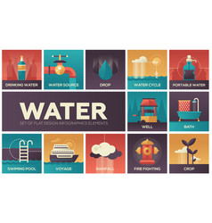 water concept - set of flat design infographics vector image vector image
