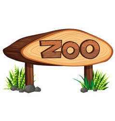 zoo sign made of wood vector image