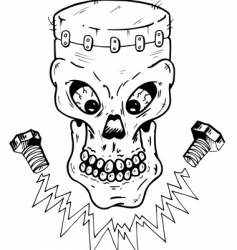 frankenstein skull vector image vector image