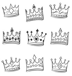 hand draw crown style of doodles vector image