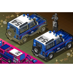 Isometric Police Off Road Vehicle in Rear View vector image