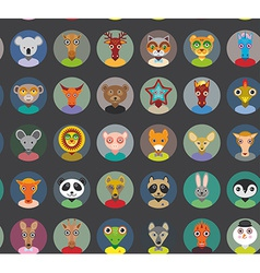 Seamless pattern animals faces circle icons set in vector image vector image