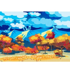Autumn forest in the storm vector image vector image