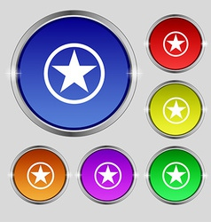 Star Favorite icon sign Round symbol on bright vector image vector image