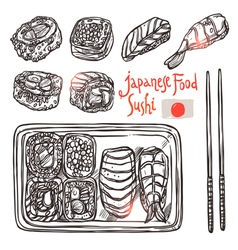 Sushi Sketch Set Japanese Hand Drawn Food vector image