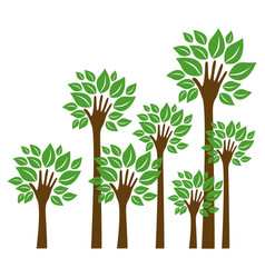 trees with stem in form hand icon vector image vector image