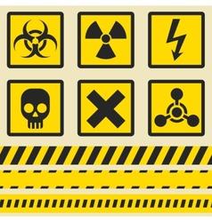 Warning signs symbols Seamless tape vector image