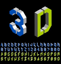 3D stencil angular isometric font alphabet vector image