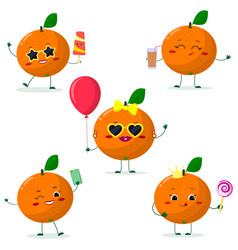 a set of five oranges smiley in different poses in vector image
