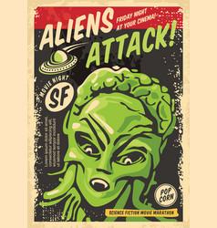 Aliens attack retro poster concept vector