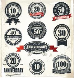 Anniversary sign collection retro design vector
