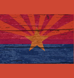Arizona state flag on old timber vector